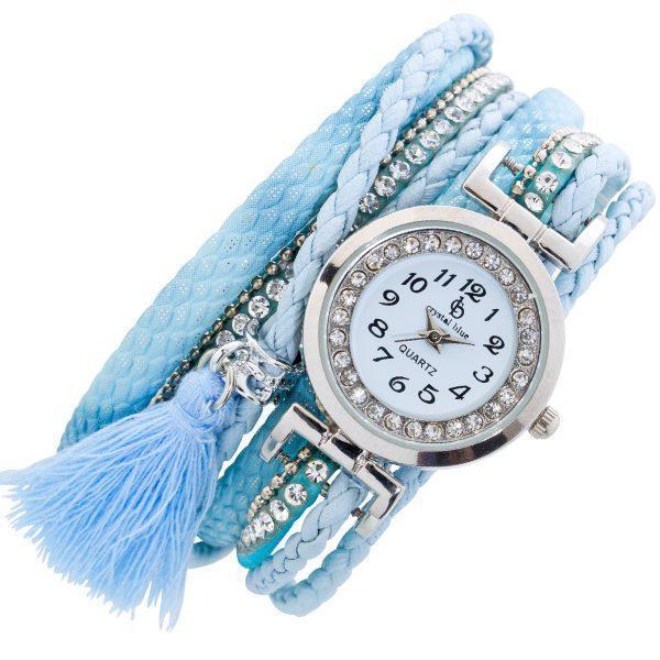 Crystal Blue Textil Uhr blauer Stoff 4-r...