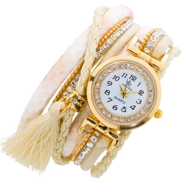 Crystal Blue Textil Uhr beige goldener S...