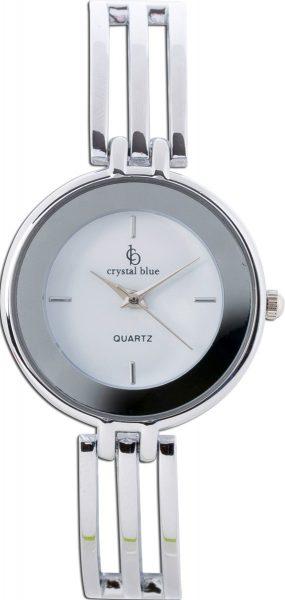 Uhr Crystal Blue Metall versilbert