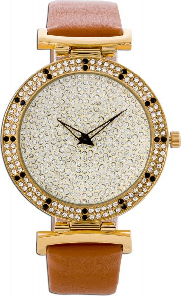 Uhr Crystal Blue vergoldetes Metall mit Kristalle braunes Kunstleder