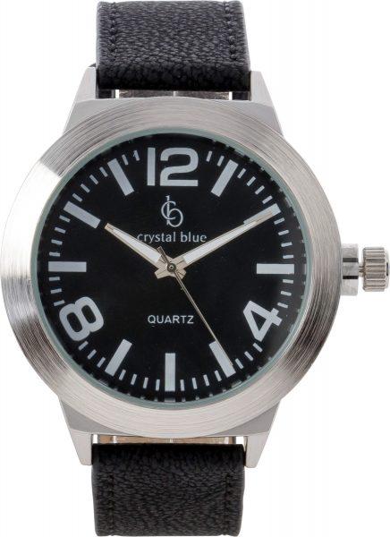 Uhr Crystal Blue Metall versilbert schwa...