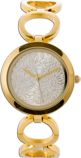 Crystal Blue Uhr Metall gelb vergoldet B...