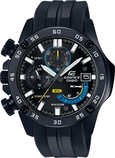 Casio Uhren EFR-558BP-1AVUEF Edifice Chronograph Resin Armband dunkle Herrenuhr IP black