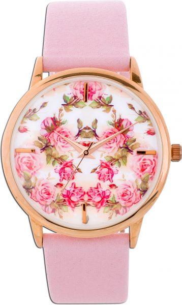 Damenuhr Uhr Damen rosa Blumen Rosen Sto...