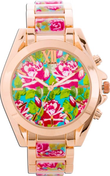 Damenuhr Damen Uhr Blumen Rose bunt Rose...