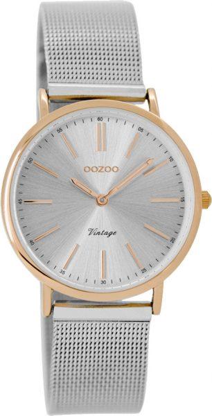 OOZOO Damenuhr C8827 silber Mesh Armband Edelstahlgehäuse rose vergoldet Ø 32mm Durchmesser
