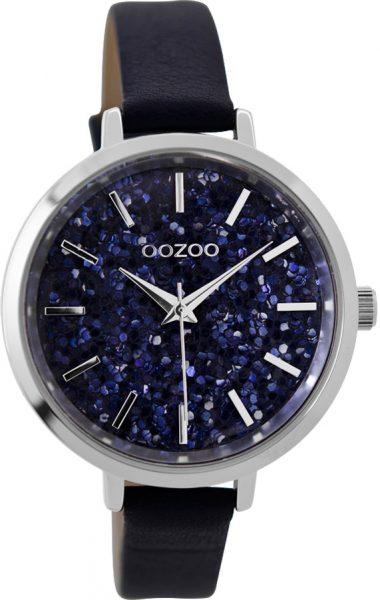OOZOO Damenuhr C9220 dunkelblaues Ledera...