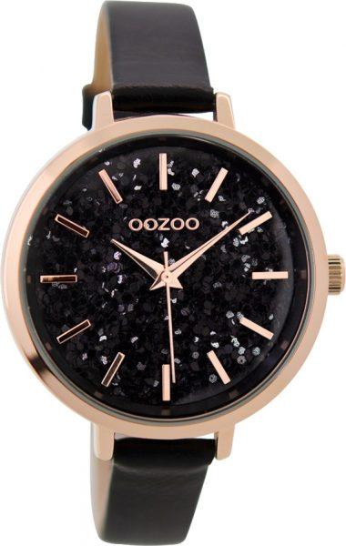 OOZOO Damenuhr C9224 schwarzes Lederarmb...