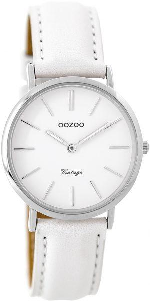 OOZOO Damenuhr C9313 weißes Lederarmband Edelstahlgehäuse Ø 32mm Durchmesser