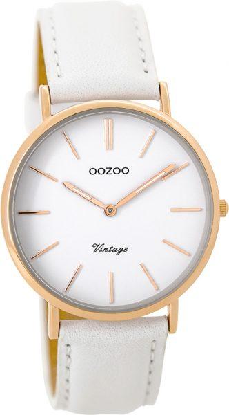 OOZOO SALE Damenuhr C9316 weißes Lederarmband Edelstahlgehäuse rose vergoldet Ø 36mm Durchmesser