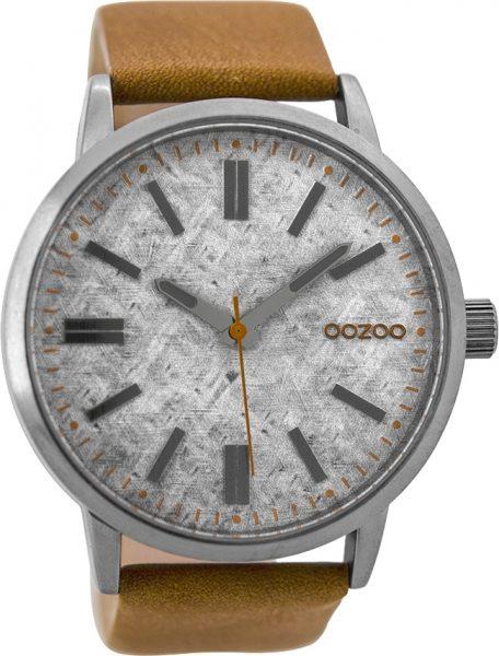 OOZOO Herrenuhr C9405 braunes Lederarmband Edelstahlgehäuse 48mm Durchmesser