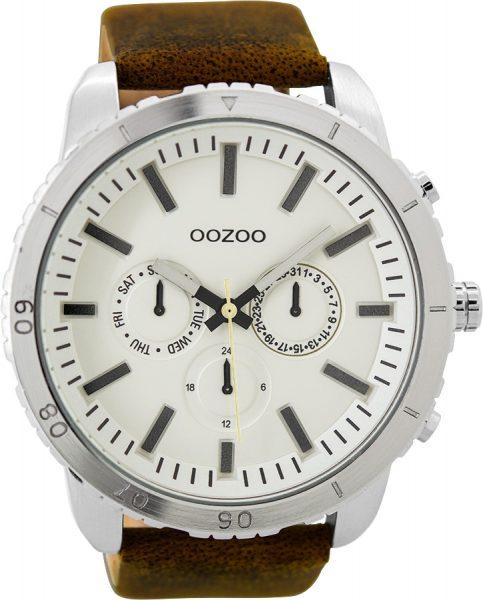 OOZOO Herrenuhr C9445 braunes Lederarmband Edelstahlgehäuse Multifunktion Ø 50mm Durchmesser