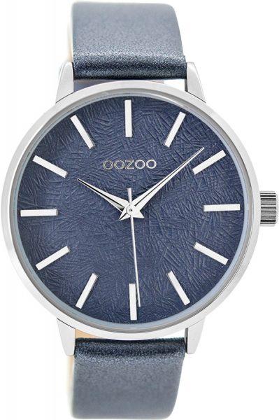 OOZOO Damenuhr C9499 metallic blau Leder...