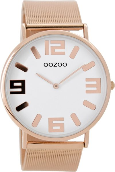 OOZOO SALE Damenuhr C8882 Mesh rosefarbenes Edelstahlarmband Edelstahlgehäuse rose Ø 42mm Durchmesser