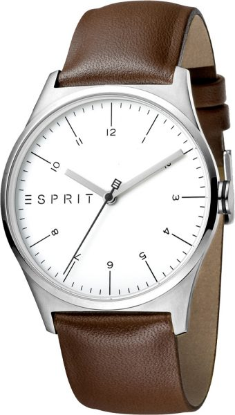 ESPRIT Herrenuhr ES1G034L0015 Essential braunes Lederband