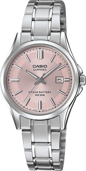 CASIO Damenuhr LTS-100D-4AVEF Saphirglas Datum Edelstahl