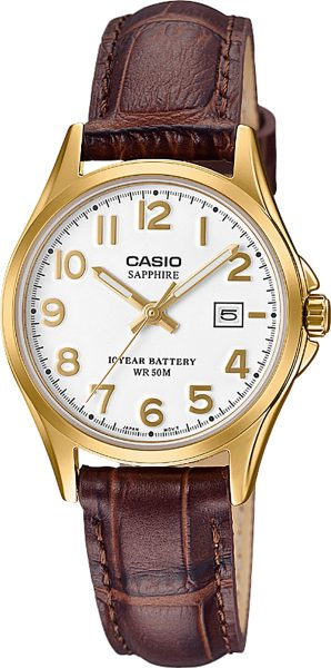 CASIO Damenuhr LTS-100GL-7AVEF braunes Lederband Saphirglas Edelstahl vergoldet