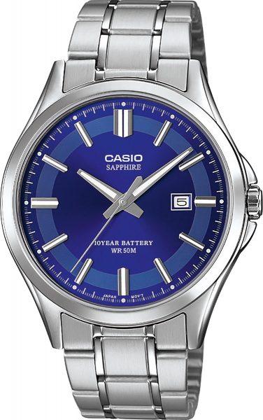CASIO Unisex Uhr MTS-100D-2AVEF Saphirglas Edelstahl blaues Zifferblatt