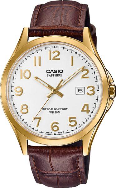 CASIO Unisex Uhr MTS-100GL-7AVEF Saphirglas braunes Lederband Datum Edelstahl vergoldet