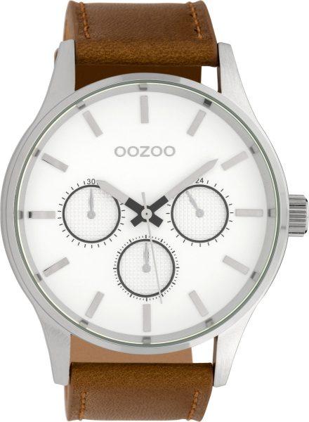 OOZOO SALE Uhren C10045 Herrenuhr braunes Lederband Multifunktions Optik XXL 48mm