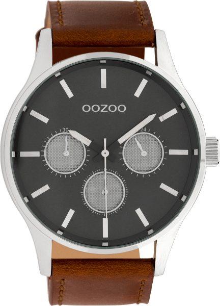 OOZOO Uhren C10046 Herrenuhr XXL 48mm braunes Lederarmband