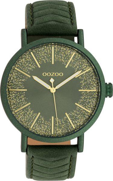 OOZOO Uhren C10148 grünes Lederband Damenuhr goldener Glitzer 42mm