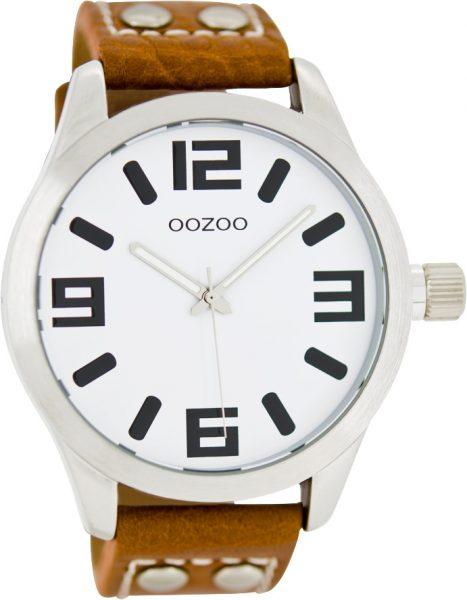 OOZOO SALE Uhren C1051 braunes Lederarmband Nieten silber Gehäuse Unisex 46mm