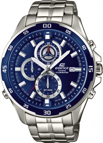 CASIO Herrenuhr Edifice SALE EFR-547D-2AVUEF Edelstahl Chronograph blaues Zifferblatt Super Illuminator