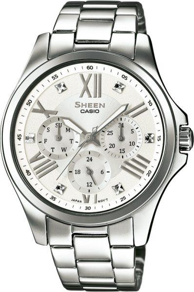 CASIO SHEEN Damenuhr SALE SHE-3806D-7AUER Edelstahl Datum Swarovski Kristalle