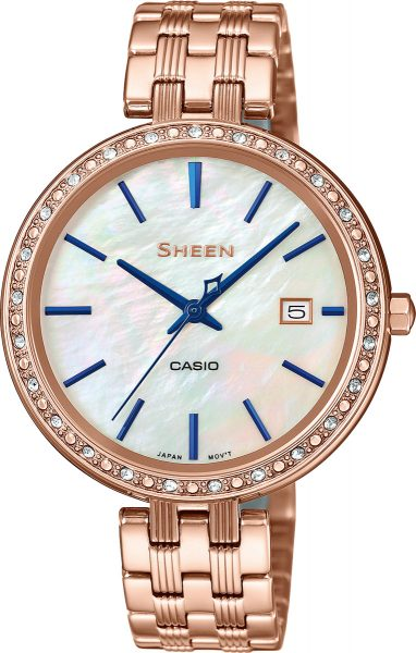 CASIO SALE SHEEN Damenuhr SHE-4052PG-2AUEF Edelstahl Rose Perlmutt Zifferblatt Swarovski Kristalle