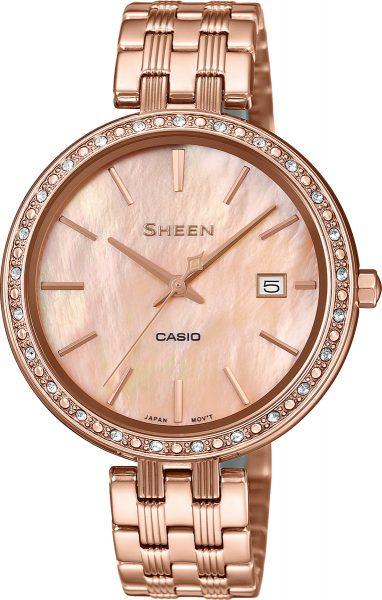 CASIO SHEEN Damenuhr SALE SHE-4052PG-4AUEF Edelstahl Rose Perlmutt Zifferblatt Swarovski Kristalle