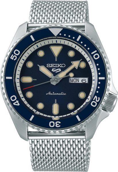 SEIKO SALE Uhr 5 Sports SRPD71K1 Automatik Mechanisch Edelstahl Milanaise Armband blaues Zifferblatt 43mm Durchmesser
