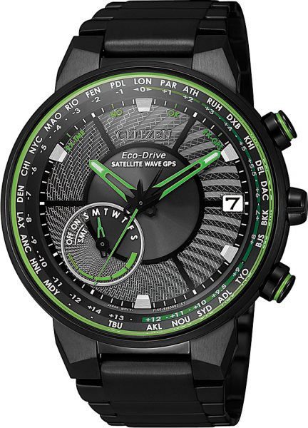 Citizen Herrenuhr CC3075-80E Satellite Wave GPS Edelstahl schwarz IP grüne Indizes Eco Drive Solarantrieb
