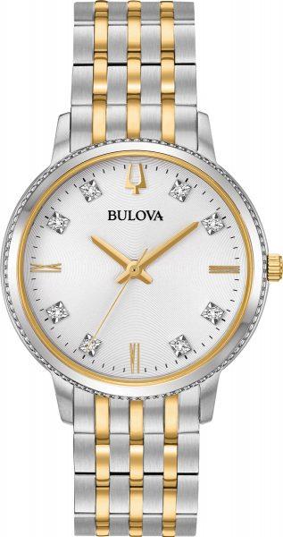 Bulova Damenuhr 98P189 Diamonds Edelstahlgehäuse bicolor Diamanten im Zifferblatt