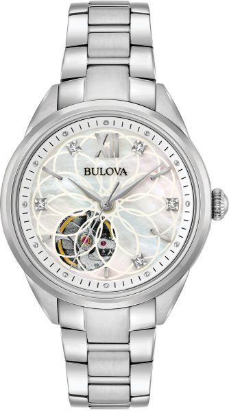 Bulova Damenuhr 96P181 Automatik Sutton Womens Diamond Edelstahl Diamanten Perlmuttzifferblatt