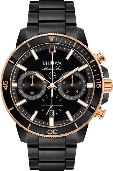 Bulova Herrenuhr 98B302 Marine Star Black Edelstahl bicolor Taucheruhr 20bar Chronograph