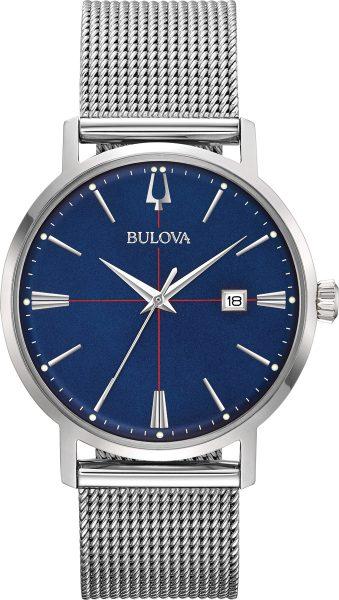 Bulova SALE Herrenuhr 96B289 Classic Aerojet Edelstahl Mesharmband blaues Zifferblatt