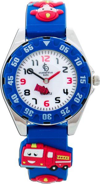 Crystal Blue Feuerwehr Kinderuhr Blau Feuerwehr Abbildungen drehbare Lünette Bandbreite 14mm