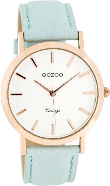 OOZOO SALE Damenuhr C8101 mint Lederband rose Metall