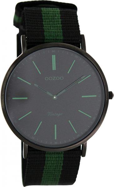 OOZOO SALE Herrenuhr C7302 schwarz grün Natoband schwarz Metall