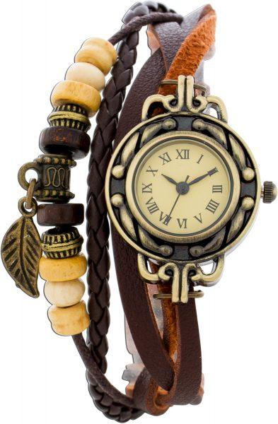Uhr mit Holz und Metall Beads, Uhr Drm 27mm mit Krone,geflochtenes Kunstlederband, Länge ca 19-21cm, mit Druckknopf Verschluss