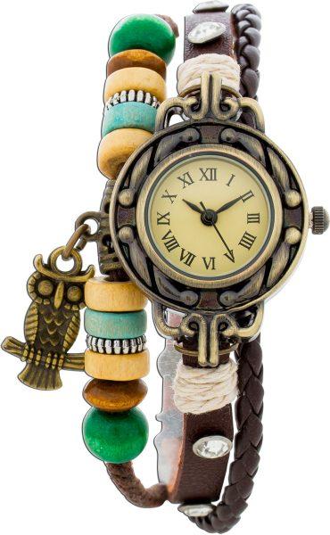 Uhr mit Holzkugeln und Eule, Kunstlederband mit Kristalle, Uhr Drm 27mm mit Krone, Länge ca 19-21cm, mit Druckknopf Verschluss