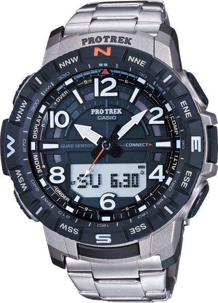 Casio Sports PRT-B50T-7ER Pro Trek Herren Uhr Quarz Analog Digital Bluetooth Kompass Höhenmesser Barometer Thermometer Silber Schwarz