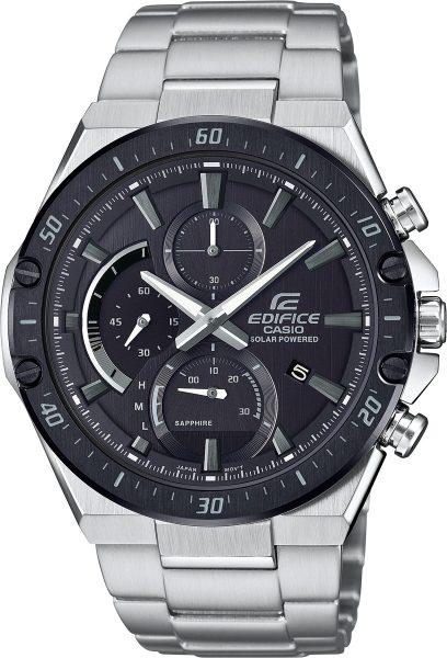 Casio Edifice EFS-S560DB-1AVUEF Herren Uhr Solar Analog Chronograph Silber Schwarz