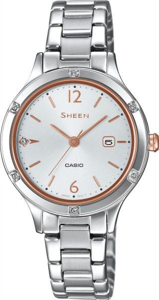 Casio Sheen Damenuhr SHE-4533D-7AUER Quarz Swarowski Crystals Silber