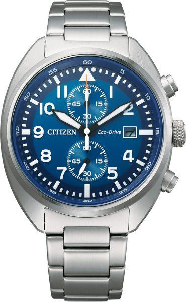 Fliegeruhr Chronograph Citizen CA7040-85L Eco Drive Solar Herrenuhr Pilotenuhr Edelstahl blaues Ziffernblatt