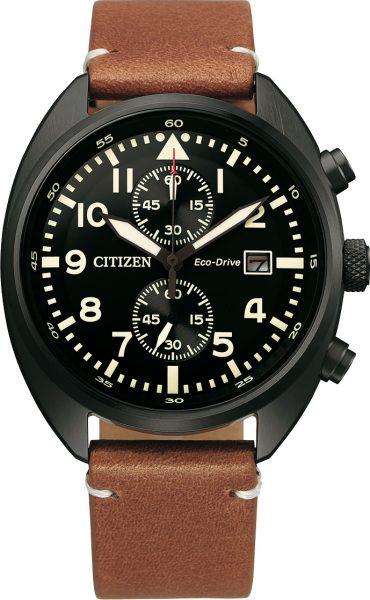 Fliegeruhr Chronograph Citizen CA7045-14E Edelstahl Eco Drive Solar Lederarmband Herrenuhr Pilotenuhr