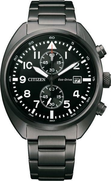 Fliegeruhr Chronograph Citizen CA7047-86E Eco Drive Solar Herrenuhr Pilotenuhr Edelstahl schwarz
