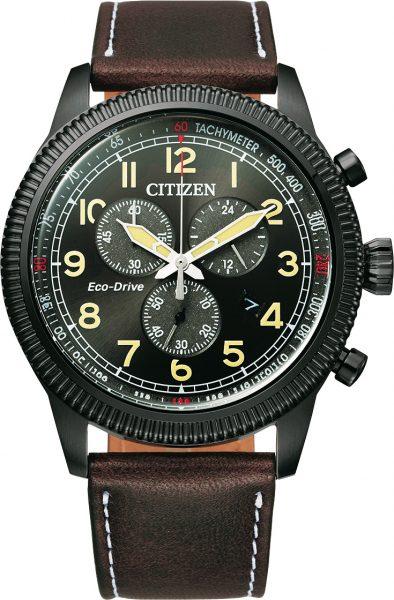 Citizen Herrenuhr Chronograph AT2465-18E Eco Drive schwarzes Ziffernblatt Lederband