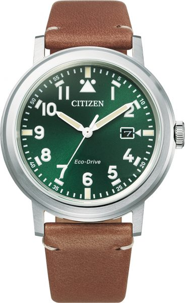Citizen Herrenuhr AW1620-13X Edelstahl grün weisses Ziffernblatt braunes Lederarmband
